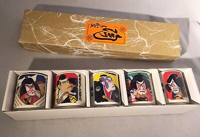 Set of five JAPANESE KABUKI Porcelain Sake Cups - in Box