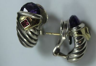 David Yurman Earrings Sterling Silver 14K Gold Shrimp Earrings Thoroughbred