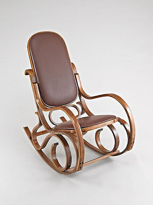 Bentwood Antique Style Rocking Chair-Walnut Frame with Brown Leather-CH043BR