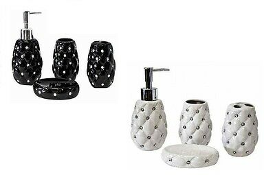 4 Pcs Bathroom Accessory Set Diamante Soap Dish- Dispenser Tumbler& Brush Holder