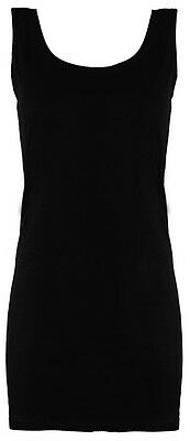 Womens Ladies Long Stretchy Plain Round Scoop Neck SLEEVELESS Vest/Top/T Shirt