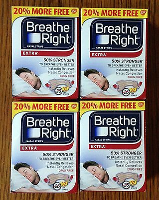 128 BREATHE RIGHT Nasal Strips EXTRA TAN Adult Size Nose Stop Snoring Breath