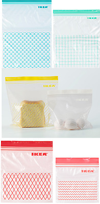 140 x IKEA ISTAD Re-Sealable Plastic Freezer Food Bags - blue, red & yellow)