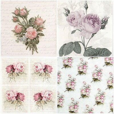 4x Paper Napkins for Decoupage Decopatch Craft Roses Mix