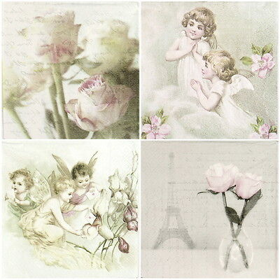 4x Paper Napkins for Decoupage Vintage Roses Angels -Mix