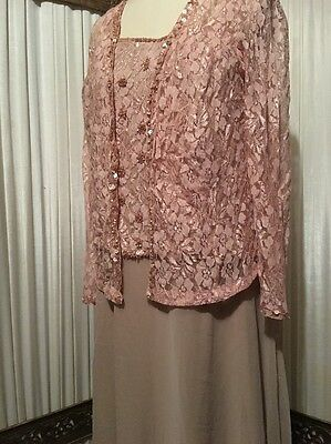 Roaman's Women's Plus 16W Mother Of The Bride Dress Ivory Lace With Sheer Jacket
