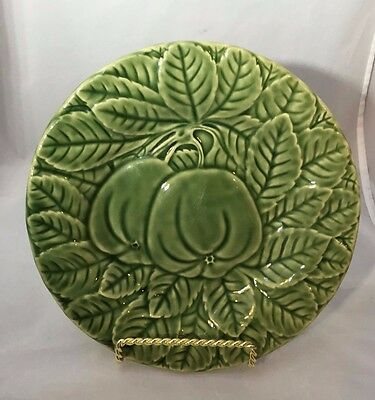 "Bordallo Pinheiro PORTUGAL Green Embossed 8"" Apples Salad Plate"