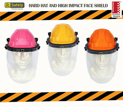 Vented Hard Hat and High Impact Face Shield ** Certified Australian Standard **