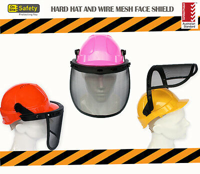 Vented Hard Hat and Wire Mesh Face Shield ** Certified Australian Standard **