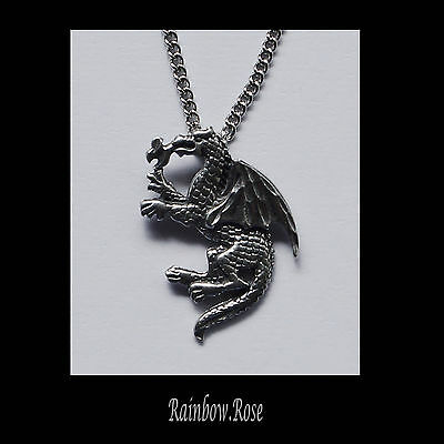 Pewter Necklace on Chain #6 Dragon 25mm silver tone