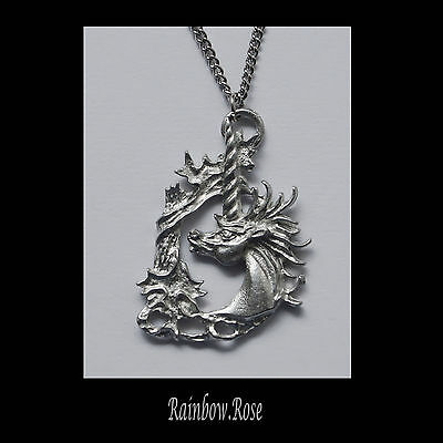 Necklace on chain #65 UNICORN HEAD - Silver Tone 38mm x 25mm