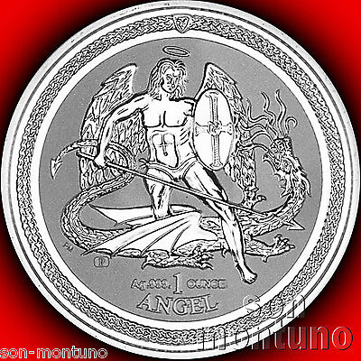 2016 REVERSE PROOF 1 OZ SILVER ANGEL - Isle of Man Bullion BU Coin - MINT SEALED