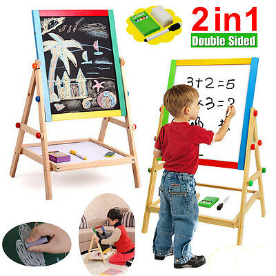 Adjustable Children Kid Double sided Wooden Easel Chalk Drawing Writing Board