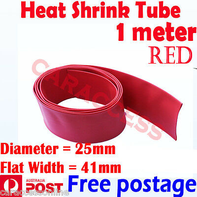 Heat Shrink tube Heatshrink tubing Sleeving RED 25mm 1meter  AU STOCK