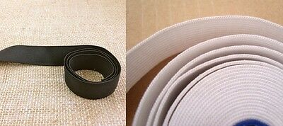 High Quality Woven Elastic, 1 Inch  Wide Approx, White / Black Various  Lengths
