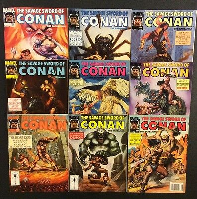 SAVAGE SWORD OF CONAN Comic Book Magazine #180 - 188 Lot of 9 Marvel 1990 VF+