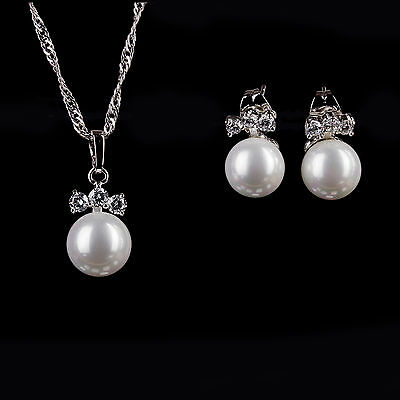 Fine Silver Plated Crystal & White Pearl Bridal Wedding Necklace & Earring Set
