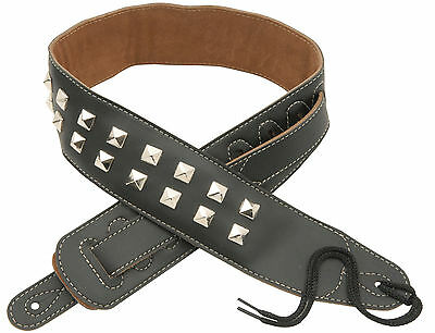 STUDDED FAUX LEATHER GUITAR STRAP Bass Electric Acoustic