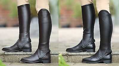 Shires Synthetic EquiLeather Show Gaiters Adults Horse Riding Half Chaps ALL SIZ