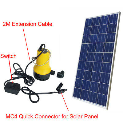Solar Powered 12V Water Pump Kit w/ 100W Poly Solar Panel for Watering Washing