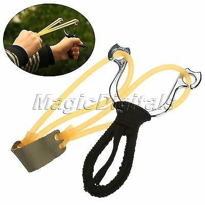 Stainless Steel Powerful Military Black Slingshot Catapult Outdoor Hunting Sport