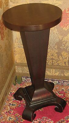 Antique Solid Mahogany Pedestal Plant Stand Round Top Tapered Column Scroll Feet