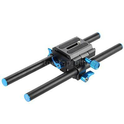 """DSLR Camera Baseplate 15mm Rail Rod Support System with 1/4""""Screw Plate NEW V5B9"""