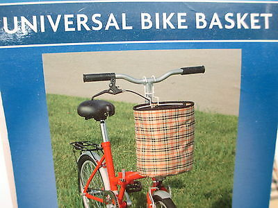 Universal Bike Basket & Carry Tote Bicycle Plaid Coated Nylon Fabric Holds 20lbs