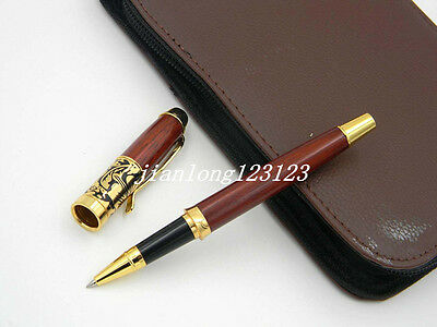 Jinhao Red Wooden With Rotten Carving  Golden Trim Rollerball Pen