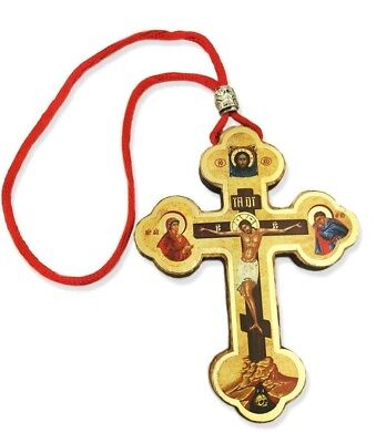 Cross Wood Crucifix on Rope Cord Virgin Mary Saint John The Beloved Skull 3 1/2""