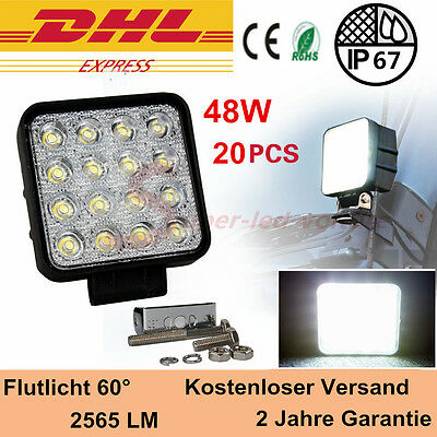 20x 48w LED Flood Spot Work Light Tractor offroad Jeep 4WD 12V 24V 4560LM Square