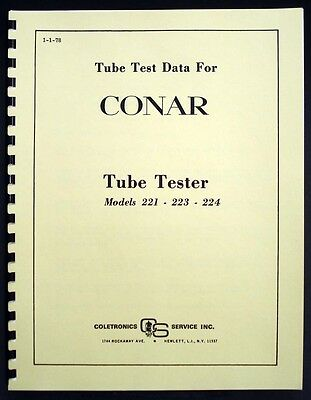 Conar Model 221 223 224 Tube Test Data Book 1978 Version