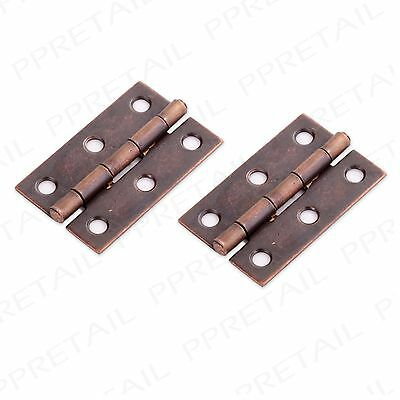 "Pair Of 50mm/2"" ANTIQUE BRASS BUTT HINGES Small Cupboard/Cabinet Box Door Fixing"