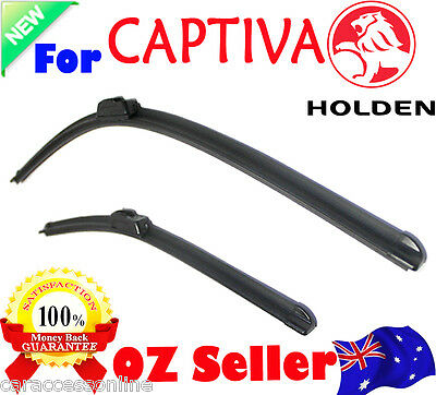 Pair Frameless Windscreen Wiper Blades For Holden CAPTIVA CG 10/2006 - 12/2015