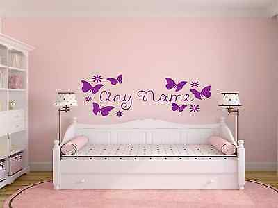 Personalised butterfly and flowers Any Name Vinyl Wall Art Sticker Decal Kids