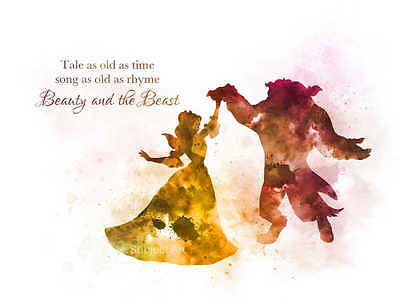 Art Print Beauty And The Beast Dance Quote Illustration Disney
