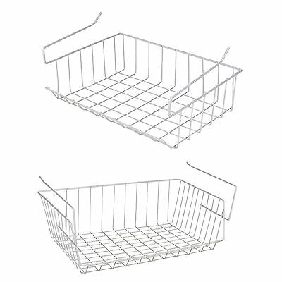 White Under Shelf Table Storage Basket Rack Kitchen Wire Mesh Cabinet Organiser