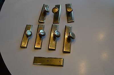 Set of 7 Vintage metal drawer pulls with knobs. 2 Extra back plates