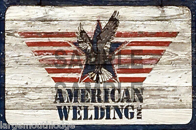 Weathered Layout Building Sign American Welding Decal 3X2