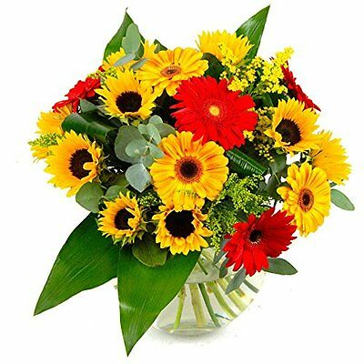 Clare Florist Summer Sunshine Fresh Flower Bouquet - Germini, Solidaster, and in