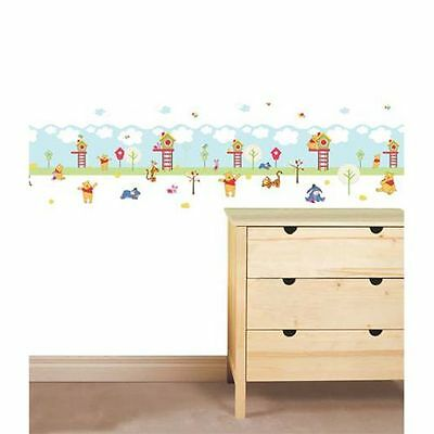 Winnie The Pooh Wallpaper Border + 108 Wall Stickers Kids Bedroom New Free P+P
