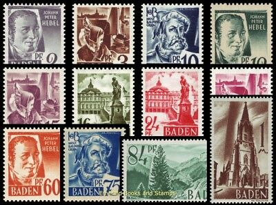 EBS Germany 1947 French Zone Baden Michel 1-13 MNH**