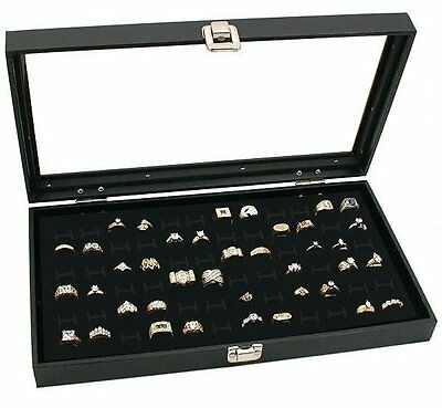 Large Jewelry Display Case Box Chest Glass Top Showcase 72 Slot Ring Tray Black
