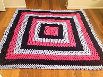 Handmade knitted/ crochet colourful granny crochet blanket/throw