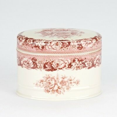 NEW Antique vintage flower style Porcelain Red Cream  trinket powder box jar