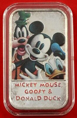 Rare Mickey Mouse , Goofy & Donald Duck 1oz .999 Fine Silver Enameled Art Bar