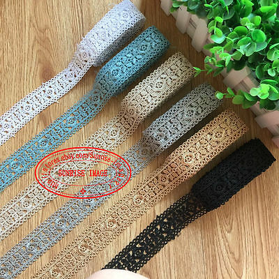 H127 1 Yard Lace Trim Ribbon For Wedding Bridal Dress Embroidered Sewing Crafts