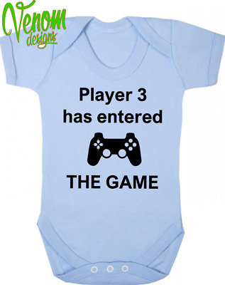 PERSONALISED BABY BODYSUIT GROW VEST GIRL OR BOY CLOTHES FUNNY GIFT gamer game