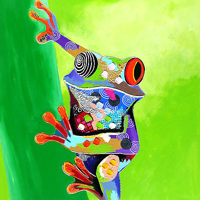 Colouful Frog Abstract Multicoloured WALL ART CANVAS FRAMED OR POSTER PRINT