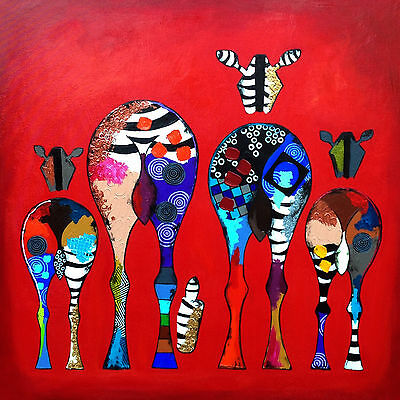 Colourful Zebra Red Multi Abstract Zebras WALL ART CANVAS FRAMED OR POSTER PRINT
